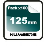 12.5cm (125mm) Race Numbers - 100 pack